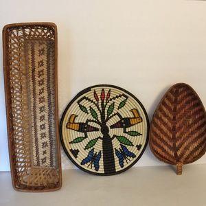 Set of 3 Boho Bamboo Wicker Sea Grass Wall Baskets